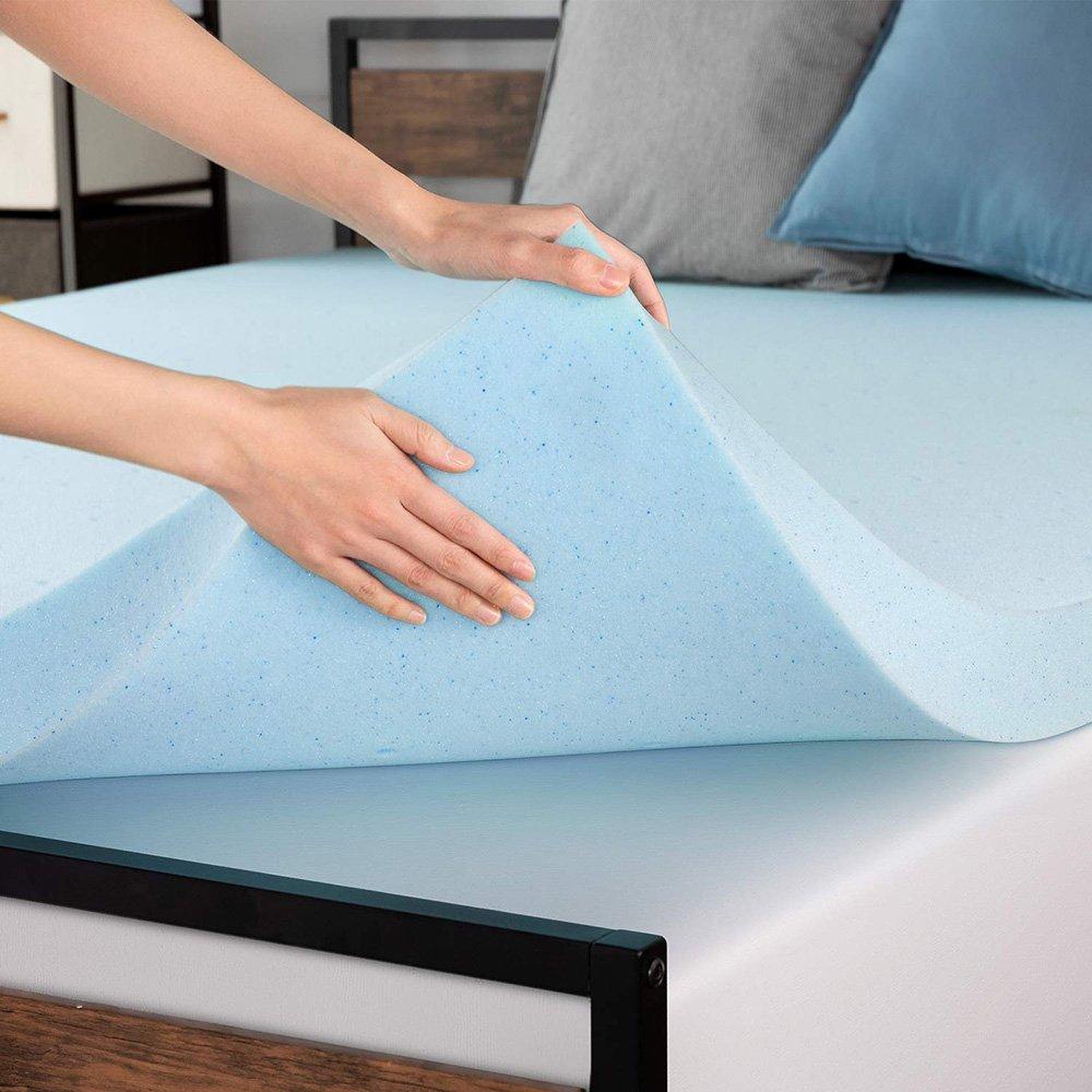 3 Inch Gel/Bamboo Charcoal Memory Foam Mattress Topper