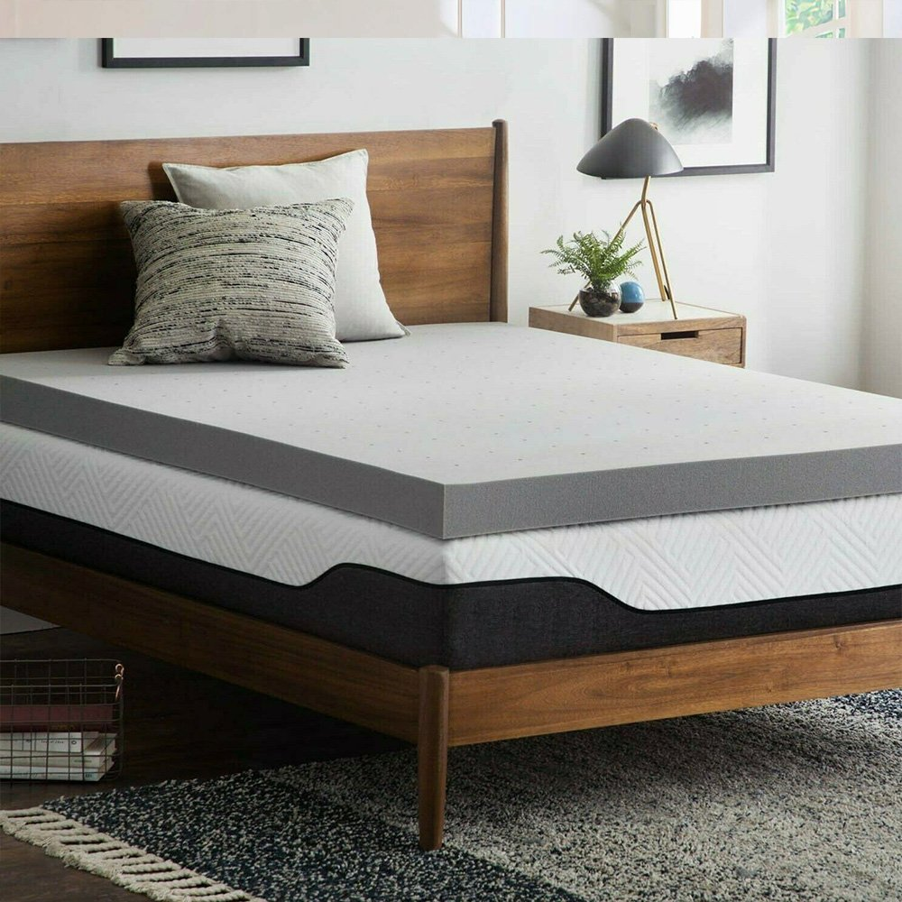 3 Inch Gel/Bamboo Charcoal Memory Foam Mattress Topper