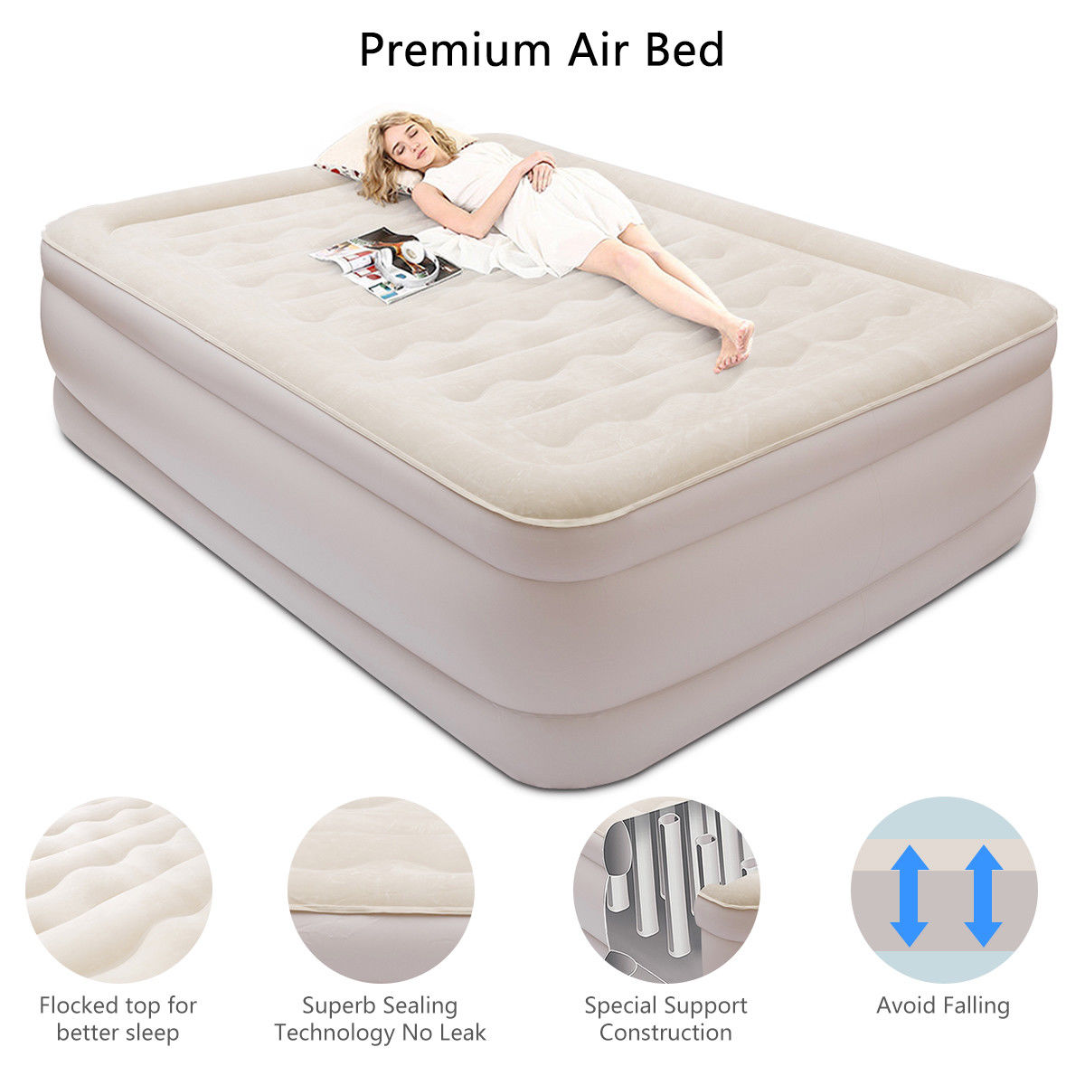 Costway Queen Size Luxury Elevated Air Bed
